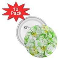 Light Floral Collage  1 75  Buttons (10 Pack)