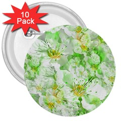 Light Floral Collage  3  Buttons (10 Pack)