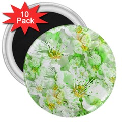 Light Floral Collage  3  Magnets (10 Pack)