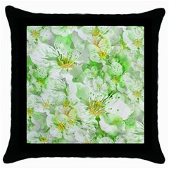 Light Floral Collage  Throw Pillow Case (black)