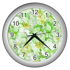 Light Floral Collage  Wall Clocks (silver)