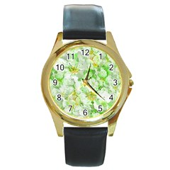 Light Floral Collage  Round Gold Metal Watch