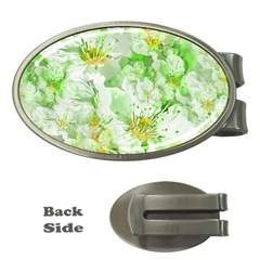 Light Floral Collage  Money Clips (oval)