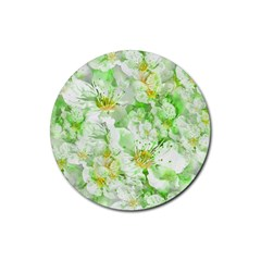 Light Floral Collage  Rubber Coaster (round)