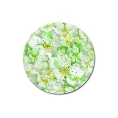 Light Floral Collage  Magnet 3  (round)