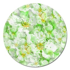 Light Floral Collage  Magnet 5  (round)