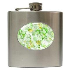 Light Floral Collage  Hip Flask (6 Oz)