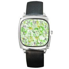 Light Floral Collage  Square Metal Watch