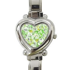 Light Floral Collage  Heart Italian Charm Watch