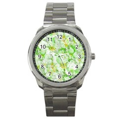 Light Floral Collage  Sport Metal Watch