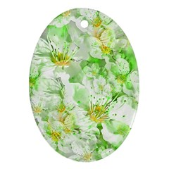 Light Floral Collage  Oval Ornament (two Sides)
