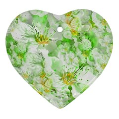 Light Floral Collage  Heart Ornament (two Sides)