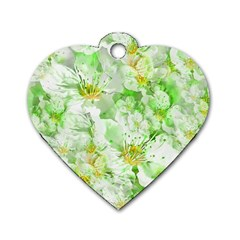 Light Floral Collage  Dog Tag Heart (one Side)