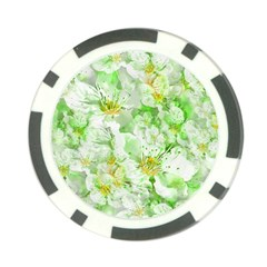 Light Floral Collage  Poker Chip Card Guard