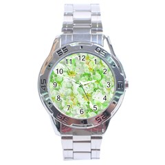 Light Floral Collage  Stainless Steel Analogue Watch