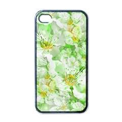 Light Floral Collage  Apple Iphone 4 Case (black)