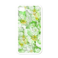 Light Floral Collage  Apple Iphone 4 Case (white)