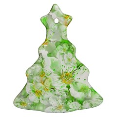 Light Floral Collage  Ornament (christmas Tree)