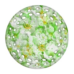 Light Floral Collage  Round Filigree Ornament (two Sides)