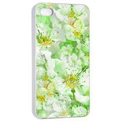 Light Floral Collage  Apple Iphone 4/4s Seamless Case (white)