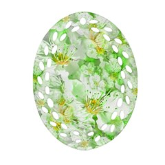 Light Floral Collage  Ornament (oval Filigree)