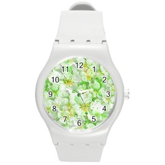Light Floral Collage  Round Plastic Sport Watch (m)