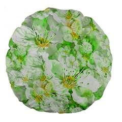 Light Floral Collage  Large 18  Premium Round Cushions