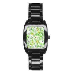 Light Floral Collage  Stainless Steel Barrel Watch