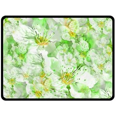 Light Floral Collage  Double Sided Fleece Blanket (large)