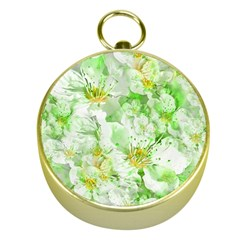 Light Floral Collage  Gold Compasses