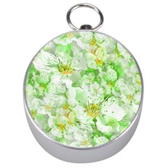 Light Floral Collage  Silver Compasses