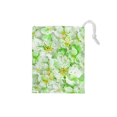 Light Floral Collage  Drawstring Pouches (small)
