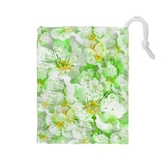 Light Floral Collage  Drawstring Pouches (large)