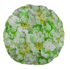 Light Floral Collage  Large 18  Premium Flano Round Cushions
