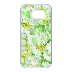 Light Floral Collage  Samsung Galaxy S7 Edge White Seamless Case