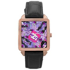 Purlpe Retro Pop Rose Gold Leather Watch