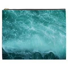 Green Ocean Splash Cosmetic Bag (xxxl)