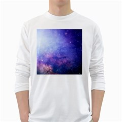 Galaxy White Long Sleeve T Shirts