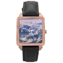In The Clouds Rose Gold Leather Watch