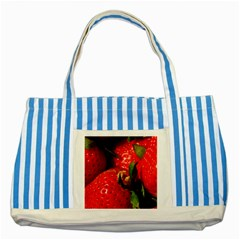 Red Strawberries Striped Blue Tote Bag