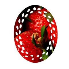 Red Strawberries Oval Filigree Ornament (two Sides)