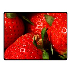 Red Strawberries Double Sided Fleece Blanket (small)