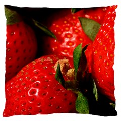 Red Strawberries Large Flano Cushion Case (one Side)