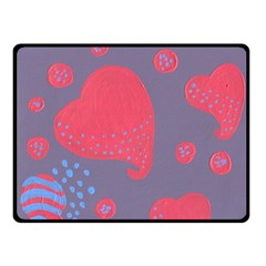 Lollipop Attacked By Hearts Double Sided Fleece Blanket (small)