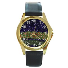 Snowy Roses Round Gold Metal Watch