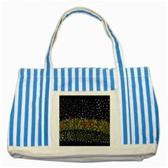 Snowy Roses Striped Blue Tote Bag