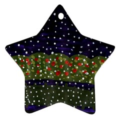 Snowy Roses Star Ornament (two Sides)