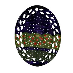 Snowy Roses Ornament (oval Filigree)