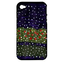 Snowy Roses Apple Iphone 4/4s Hardshell Case (pc+silicone)