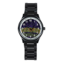 Snowy Roses Stainless Steel Round Watch